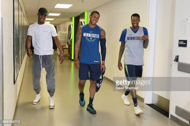 Jimmy Butler Marcus GeorgesHunt and Jamal Crawford of the Minnesota Timberwolves make their arrival together before the game against the Houston...