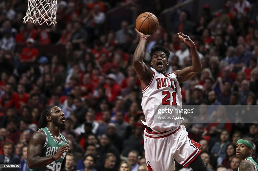 Jimmy Butler (21) of Bulls in action during the NBA match between Chicago Bulls and Boston Celtics at the United Center in Chicago, Illinois, United States on April 23, 2017.