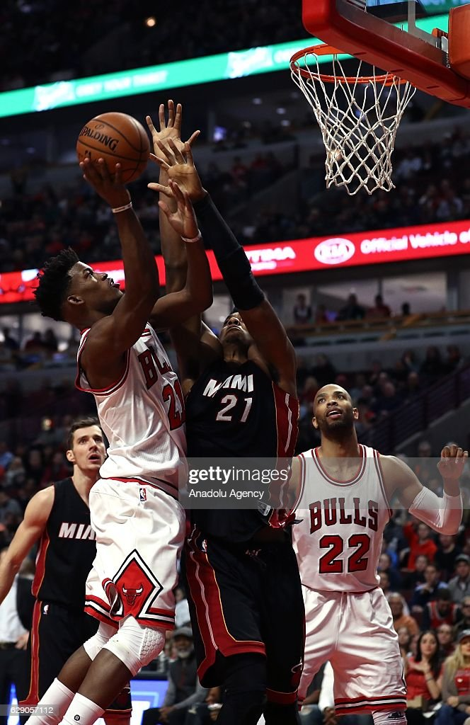 Jimmy Butler of Chicago Bulls in action during the NBA match between Miami Heat and Chicago Bulls on December 10, 2016 at the United Center in Chicago, Illinois.