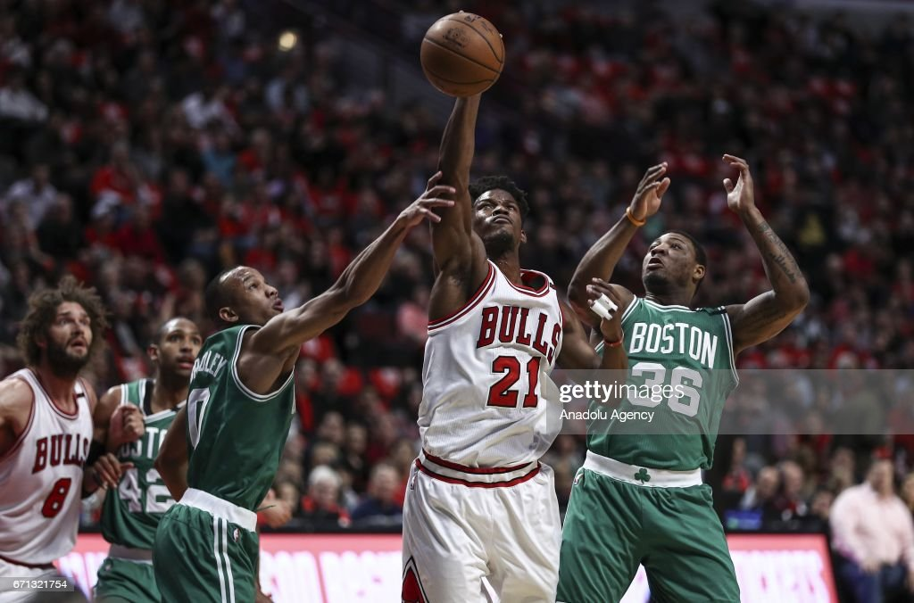 Jimmy Butler (21) of Chicago Bulls in action during the NBA match between Chicago Bulls vs Boston Celtics at the United Center in Chicago, Illinois, United States on April 21, 2017.