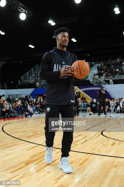 Jimmy Butler of Team Stephen dribbles the ball during NBA AllStar Media Day Practice as part of 2018 NBA AllStar Weekend at the Los Angeles...