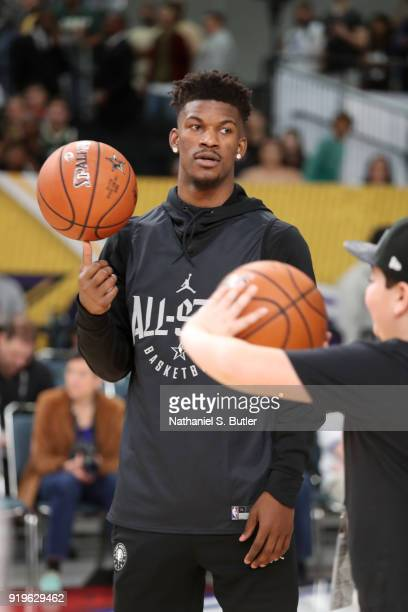 Jimmy Butler of Team Stephen participates in the NBA AllStar practice as part of the 2018 NBA AllStar Weekend on February 17 2018 at the Verizon Up...