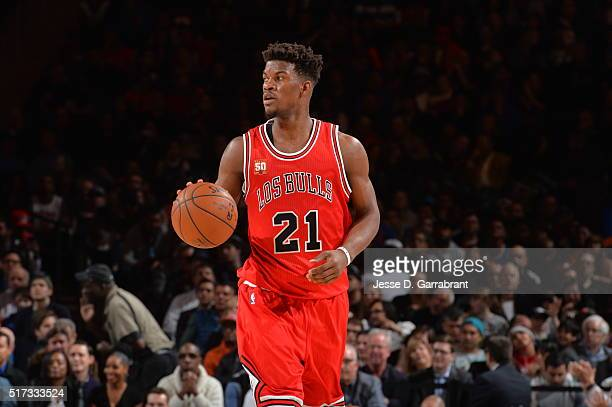 Jimmy Butler of the Chicago Bulls dribbles up court against the New York Knicks at Madison Square Garden on March 24 2016 in New YorkNew York NOTE TO...