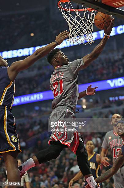 Jimmy Butler of the Chicago Bulls drives to the basket against the Indiana Pacers at the United Center on November 16, 2015 in Chicago, Illinois....