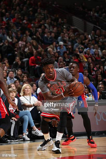 Jimmy Butler of the Chicago Bulls drives to the basket against the Detroit Pistons on April 2 2016 at the United Center in Chicago Illinois NOTE TO...