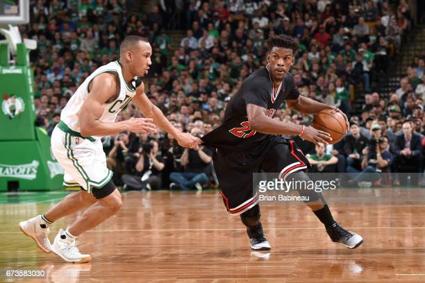 Jimmy Butler of the Chicago Bulls drives to the basket against the Boston Celtics during Game Five of the Eastern Conference Quarterfinals of the...