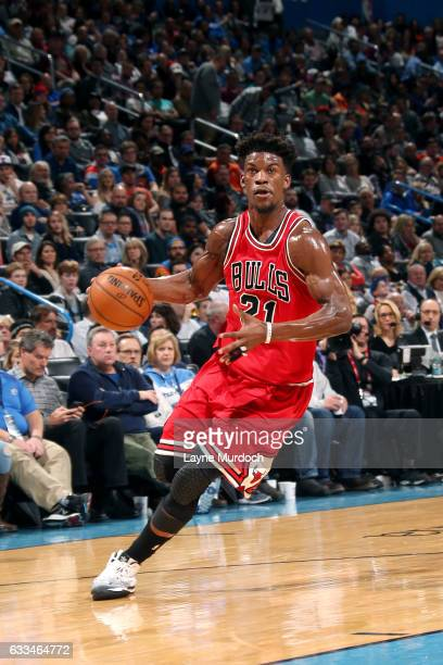 Jimmy Butler of the Chicago Bulls drives to the basket during the game against the Oklahoma City Thunder on February 1 2017 at Chesapeake Energy...