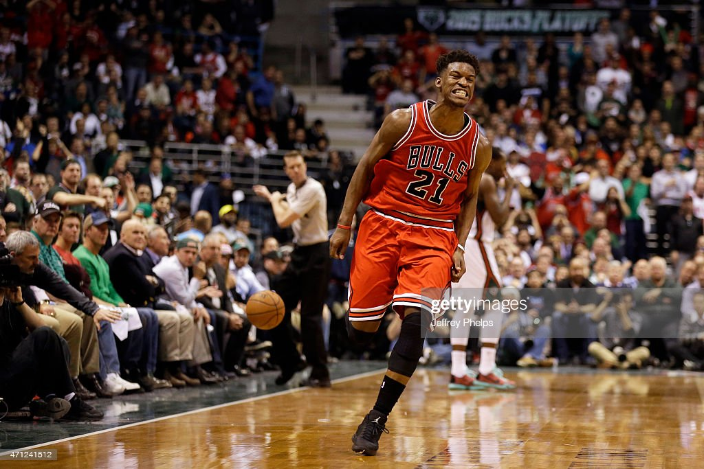Jimmy Butler #21 of the Chicago Bulls during the game against the Milwaukee Bucks during Game Three of the Eastern Conference Quarterfinals of the 2015 NBA Playoffs on April 23, 2015 at the BMO Harris Bradley Center in Milwaukee, February.