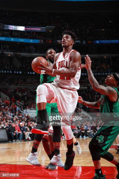 Jimmy Butler of the Chicago Bulls goes for a lay up against the Boston Celtics during the game on February 16 2017 at the United Center in Chicago...
