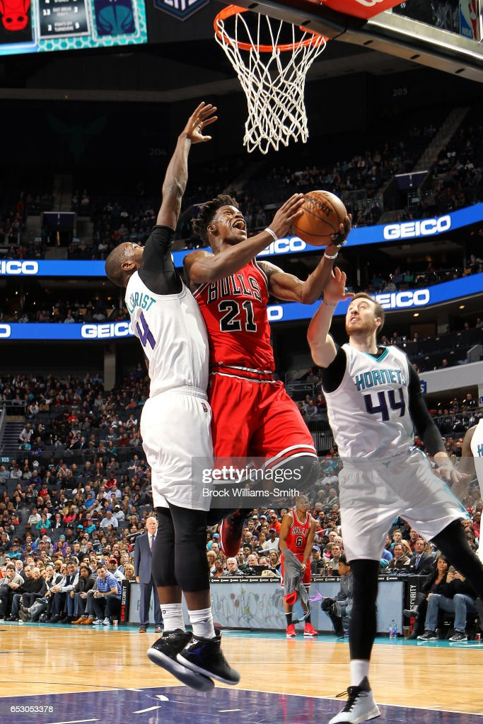 Jimmy Butler #21 of the Chicago Bulls goes for a lay up during the game against the Charlotte Hornets on March 13, 2017 at Time Warner Cable Arena in Charlotte, North Carolina.