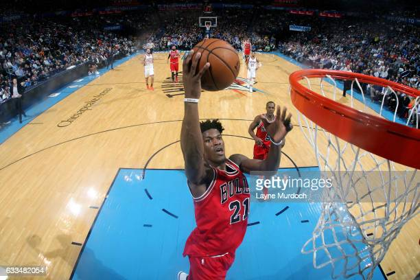 Jimmy Butler of the Chicago Bulls goes for the dunk during the game against the Oklahoma City Thunder on February 1 2017 at Chesapeake Energy Arena...