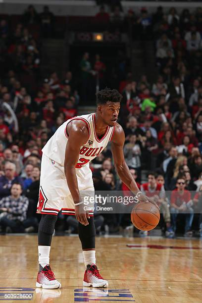 Jimmy Butler of the Chicago Bulls handles the ball against the Boston Celtics on January 7 2016 at the United Center in Chicago Illinois NOTE TO USER...