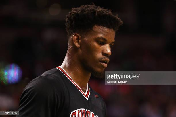 Jimmy Butler of the Chicago Bulls looks on during the third quarter of Game Five of the Eastern Conference Quarterfinals against the Boston Celtics...