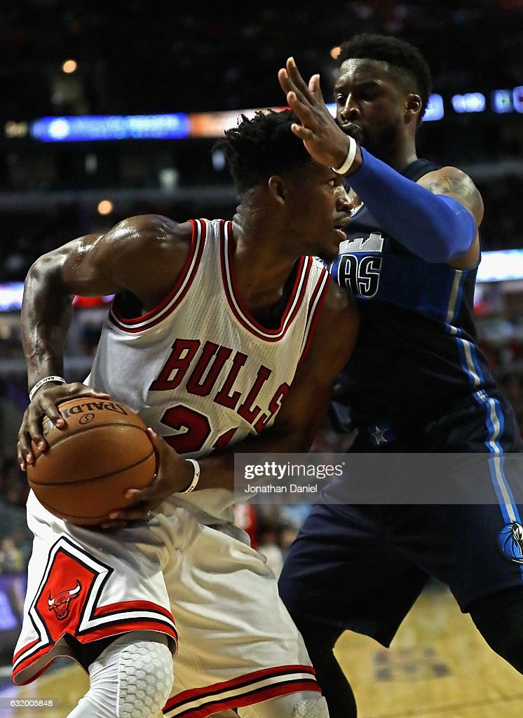 Jimmy Butler of the Chicago Bulls moves against Wesley