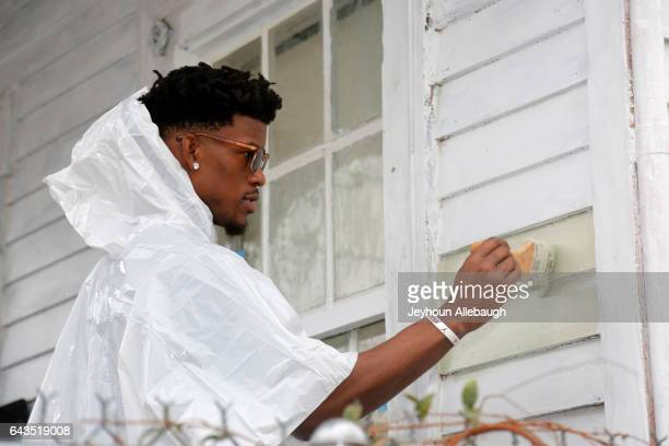 Jimmy Butler of the Chicago Bulls participate during the NBA Cares Day of Service as part of 2017 AllStar Weekend at the KaBOOM Rebuilding Together...