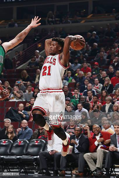 Jimmy Butler of the Chicago Bulls passes the ball against the Boston Celtics on January 7 2016 at the United Center in Chicago Illinois NOTE TO USER...
