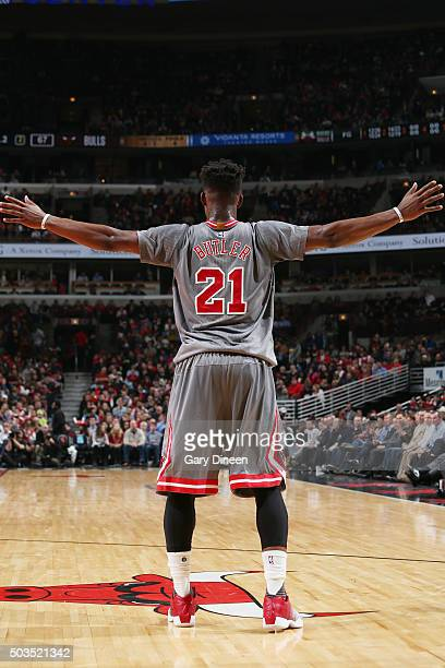 Jimmy Butler of the Chicago Bulls plays defense against the Milwaukee Bucks on January 5 2016 at the United Center in Chicago Illinois NOTE TO USER...