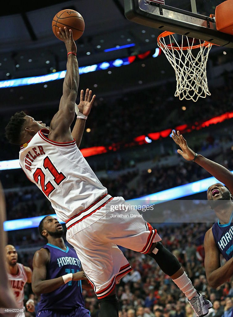 Jimmy Butler #21 of the Chicago Bulls puts up a shot against the Charlotte Hornets at the United Center on February 25, 2015 in Chicago, Illinois. The Hornets defeated the Bulls 98-86.