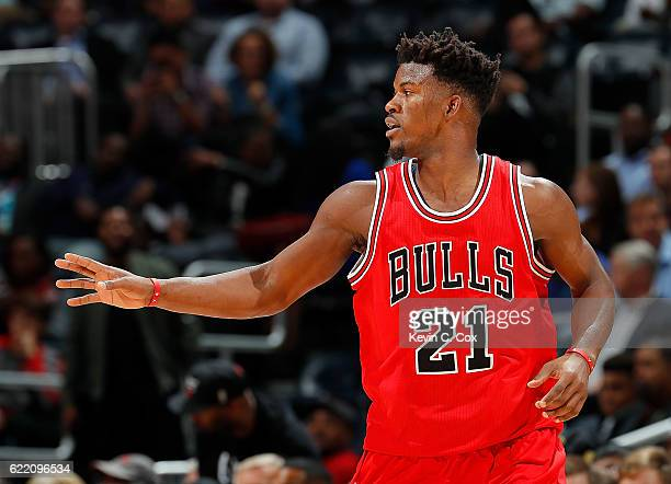 Jimmy Butler of the Chicago Bulls reacts after a basket against the Atlanta Hawks at Philips Arena on November 9 2016 in Atlanta Georgia NOTE TO USER...