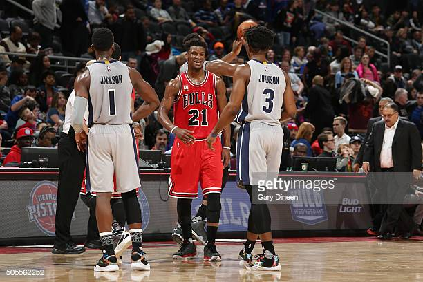 Jimmy Butler of the Chicago Bulls shakes hands with Stanley Johnson of the Detroit Pistons after the game on January 18 2016 at The Palace of Auburn...