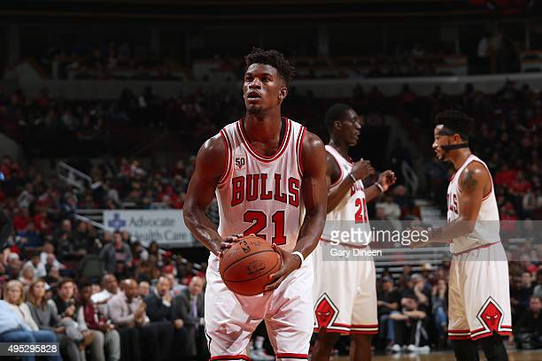 Jimmy Butler of the Chicago Bulls shoots a free throw against the Orlando Magic on November 1 2015 at the United Center in Chicago Illinois NOTE TO...