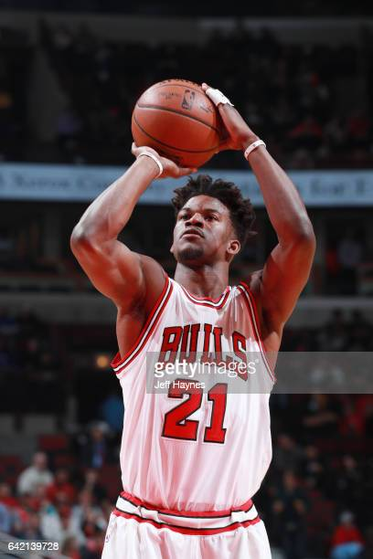 Jimmy Butler of the Chicago Bulls shoots a free throw against the Boston Celtics during the game on February 16 2017 at the United Center in Chicago...