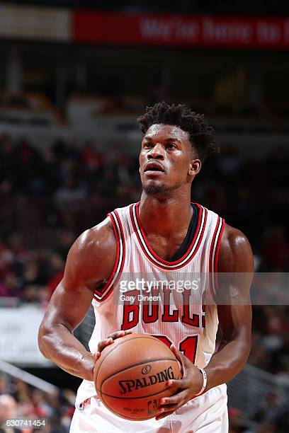 Jimmy Butler of the Chicago Bulls shoots a free throw during a game against the Milwaukee Bucks on December 31 2016 at the United Center in Chicago...