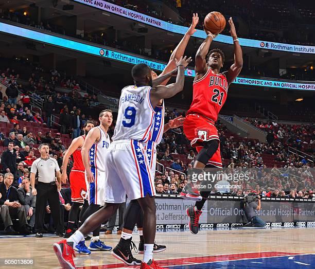 Jimmy Butler of the Chicago Bulls shoots the ball against the Philadelphia 76ers at Wells Fargo Center on January 14 2015 in Philadelphia...
