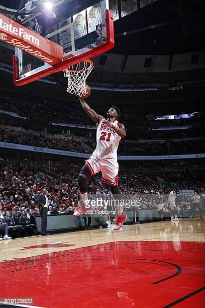 Jimmy Butler of the Chicago Bulls shoots the ball against the Indiana Pacers on October 29 2016 at the United Center in Chicago Illinois NOTE TO USER...