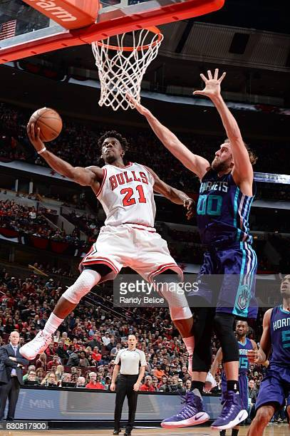 Jimmy Butler of the Chicago Bulls shoots the ball against the Charlotte Hornets on January 2 2017 at the United Center in Chicago Illinois NOTE TO...