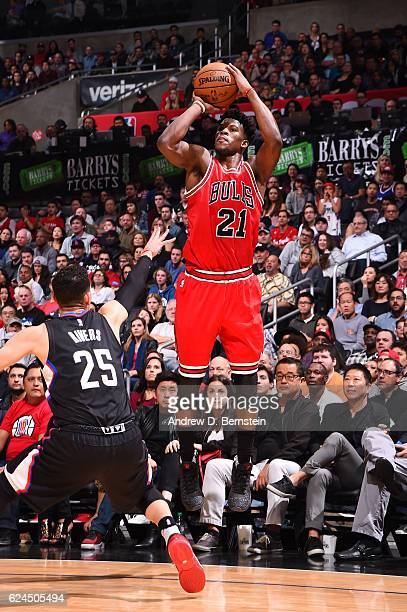 Jimmy Butler of the Chicago Bulls shoots the ball during a game against the LA Clippers on November 19 2016 at the STAPLES Center in Los Angeles...