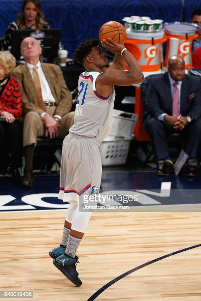 Jimmy Butler of the Chicago Bulls shoots the ball during the 2017 NBA AllStar Game at Smoothie King Center on February 19 2017 in New Orleans...