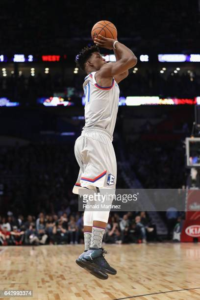 Jimmy Butler of the Chicago Bulls shoots the ball in the first half of the 2017 NBA AllStar Game at Smoothie King Center on February 19 2017 in New...