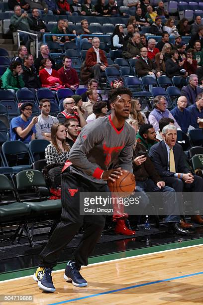 Jimmy Butler of the Chicago Bulls warms up before the game against the Milwaukee Bucks on December 12 2016 at the BMO Harris Bradley Center in...