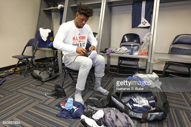 Jimmy Butler of the Eastern Conference All Star Team gets ready before NBA AllStar Practice as part of 2017 AllStar Weekend at the MercedesBenz...