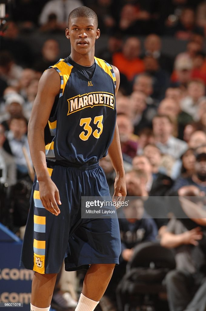 Jimmy Butler of the Marquette Golden Eagles looks on during