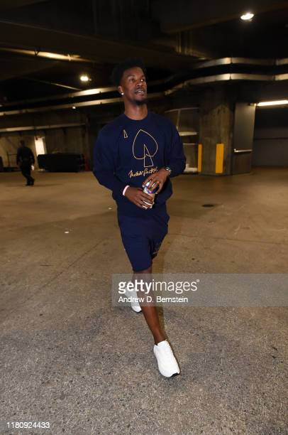 Jimmy Butler of the Miami Heat arrives to the game against the Los Angeles Lakers on November 8 2019 at STAPLES Center in Los Angeles California NOTE...