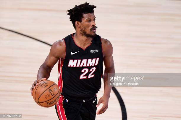 Jimmy Butler of the Miami Heat controls the ball against the Los Angeles Lakers in the third quarter of Game Six of the 2020 NBA Finals at...