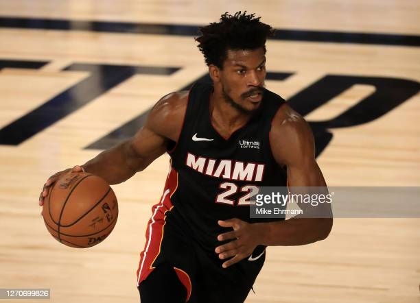 Jimmy Butler of the Miami Heat dribbles the ball during the first quarter against the Milwaukee Bucks in Game Three of the Eastern Conference Second...