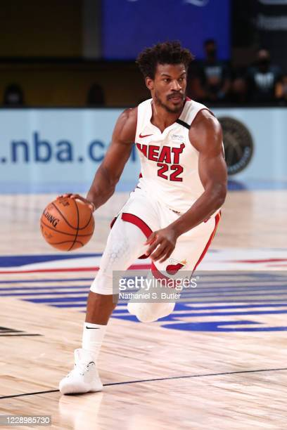 Jimmy Butler of the Miami Heat drives to the basket against the Los Angeles Lakers during Game Five of the NBA Finals on October 9, 2020 at...