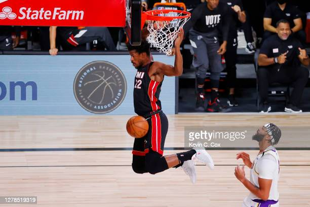 Jimmy Butler of the Miami Heat dunks the ball during the first half against the Los Angeles Lakers in Game Three of the 2020 NBA Finals at...