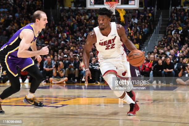 Jimmy Butler of the Miami Heat handles the ball against the Los Angeles Lakers on November 8 2019 at STAPLES Center in Los Angeles California NOTE TO...