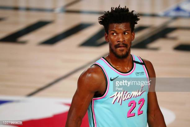 Jimmy Butler of the Miami Heat looks on during the first half against the Indiana Pacers at Visa Athletic Center at ESPN Wide World Of Sports Complex...