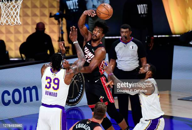 Jimmy Butler of the Miami Heat passes the ball during the first half against the Los Angeles Lakers in Game Three of the 2020 NBA Finals at...