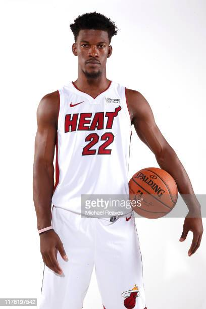Jimmy Butler of the Miami Heat poses for a portrait during media day at American Airlines Arena on September 30 2019 in Miami Florida NOTE TO USER...