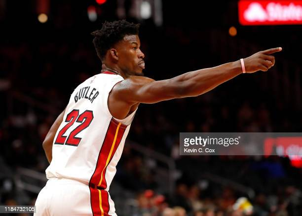Jimmy Butler of the Miami Heat reacts after a dunk against the Atlanta Hawks in the first half at State Farm Arena on October 31, 2019 in Atlanta,...