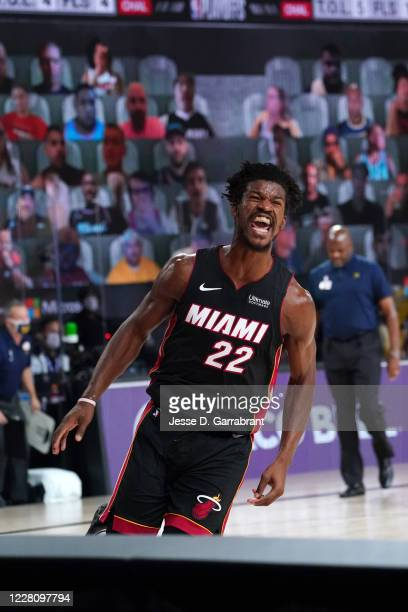 Jimmy Butler of the Miami Heat reacts during a game against the Indiana Pacers during Round One Game One of the NBA Playoffs on August 18 2020 at the...