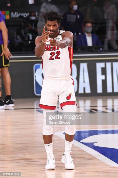 Jimmy Butler of the Miami Heat reacts during Game Five of the NBA Finals on October 9 2020 at the AdventHealth Arena at ESPN Wide World Of Sports...