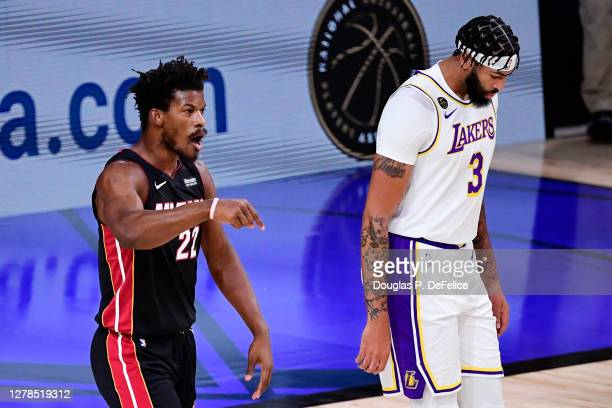 Jimmy Butler of the Miami Heat reacts during the first half against the Los Angeles Lakers in Game Three of the 2020 NBA Finals at AdventHealth Arena...