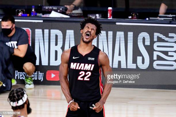 Jimmy Butler of the Miami Heat reacts during the second half against the Los Angeles Lakers in Game Three of the 2020 NBA Finals at AdventHealth...